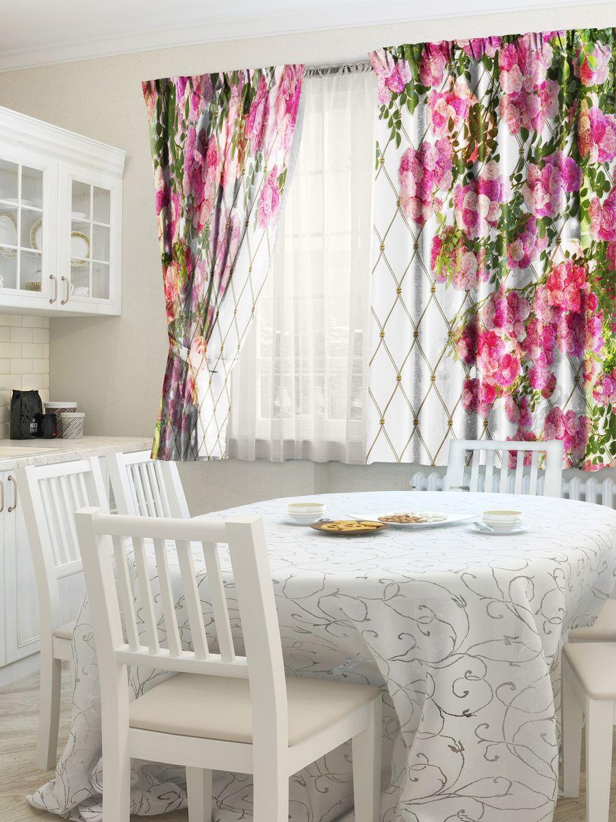 Комплект штор для кухни Zlata Korunka Клематис, на ленте, высота 160 см21318Комплект штор для кухни Zlata Korunka, выполненный из полиэстера, великолепно украсит любое окно. Комплект состоит из 2 штор. Яркий рисунок и приятная цветовая гамма привлекут к себе внимание и органично впишутся в интерьер помещения. Этот комплект будет долгое время радовать вас и вашу семью.Комплект крепится на карниз при помощи ленты.