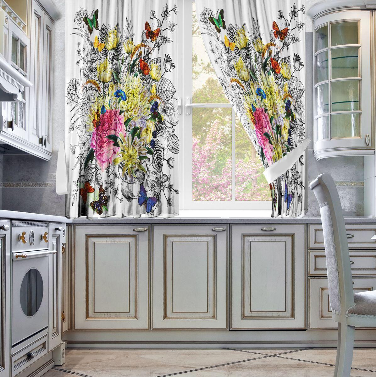 Комплект штор для кухни Zlata Korunka Танец, на ленте, цвет: серый, высота 160 см21322Комплект штор для кухни Zlata Korunka, выполненный из полиэстера, великолепно украсит любое окно. Комплект состоит из 2 штор. Яркий рисунок и приятная цветовая гамма привлекут к себе внимание и органично впишутся в интерьер помещения. Этот комплект будет долгое время радовать вас и вашу семью. Комплект крепится на карниз при помощи ленты, которая поможет красиво и равномерно задрапировать верх.