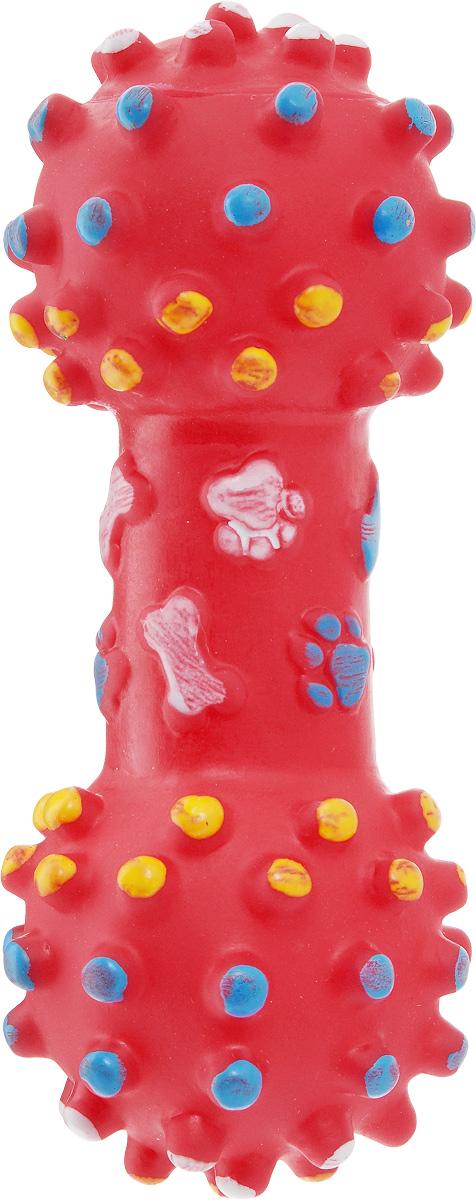 Игрушка для собак Zoobaloo Гантель, с пищалкой, длина 17 см трикси игрушка для лакомств в форме гантели 15см резина