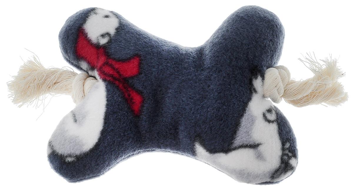 Игрушка для собак Zoobaloo Кость на канате, цвет: серый, белый, красный, длина 20 см игрушка для собак zoobaloo мяч 422