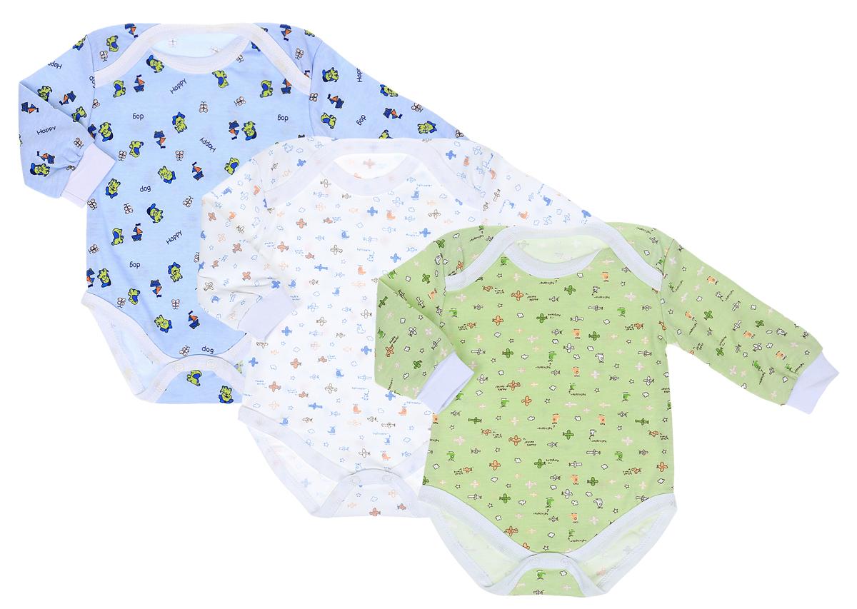 Боди для мальчика Фреш Стайл, цвет: голубой, зеленый, белый, 3 шт. 33-317м. Размер 80 боди для мальчика spasilk цвет белый голубой зеленый 3 шт on a7p размер l 6 9 месяцев
