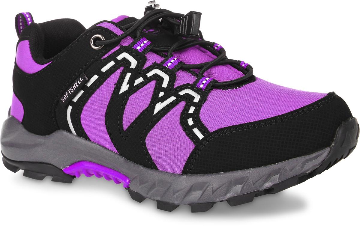 Кроссовки для девочки Зебра, цвет: сиреневый, черный. 10974-20. Размер 3410974-20Кроссовки Зебра выполнены из текстиля с технологией SoftShell, которая обеспечивает ветро-влагонепроницаемую защиту. На ноге модель фиксируется с помощью эластичной шнуровки со стоппером. Ярлычок на заднике облегчит надевание модели. Внутренняя поверхность выполнена из текстиля, комфортного при движении. Стелька выполнена из легкого ЭВА-материала с поверхностью из натуральной кожи и дополнена супинатором с перфорацией, который обеспечивает правильное положение ноги ребенка при ходьбе, предотвращает плоскостопие. Анатомическая стелька способствует правильному формированию скелета и анатомических сводов детской стопы, снижает общую усталость ног, уменьшает нагрузку на позвоночник, делает ходьбу ребенка легкой, приятной и комфортной. Подошва изготовлена из легкого ЭВА-материала. Поверхность подошвы дополнена рельефным рисунком.