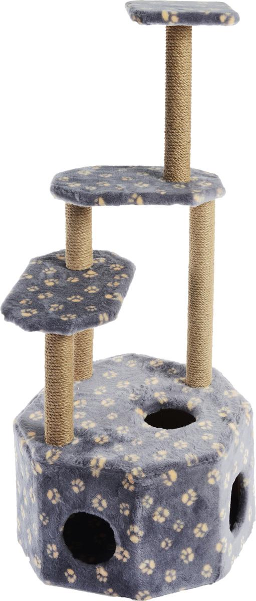 Домик-когтеточка Меридиан Высотка, 4-ярусный, цвет: серо-синий, бежевый, 51 х 51 х 123 см домик когтеточка меридиан угловой 4 ярусный цвет тигровый 55 х 48 х 158 см