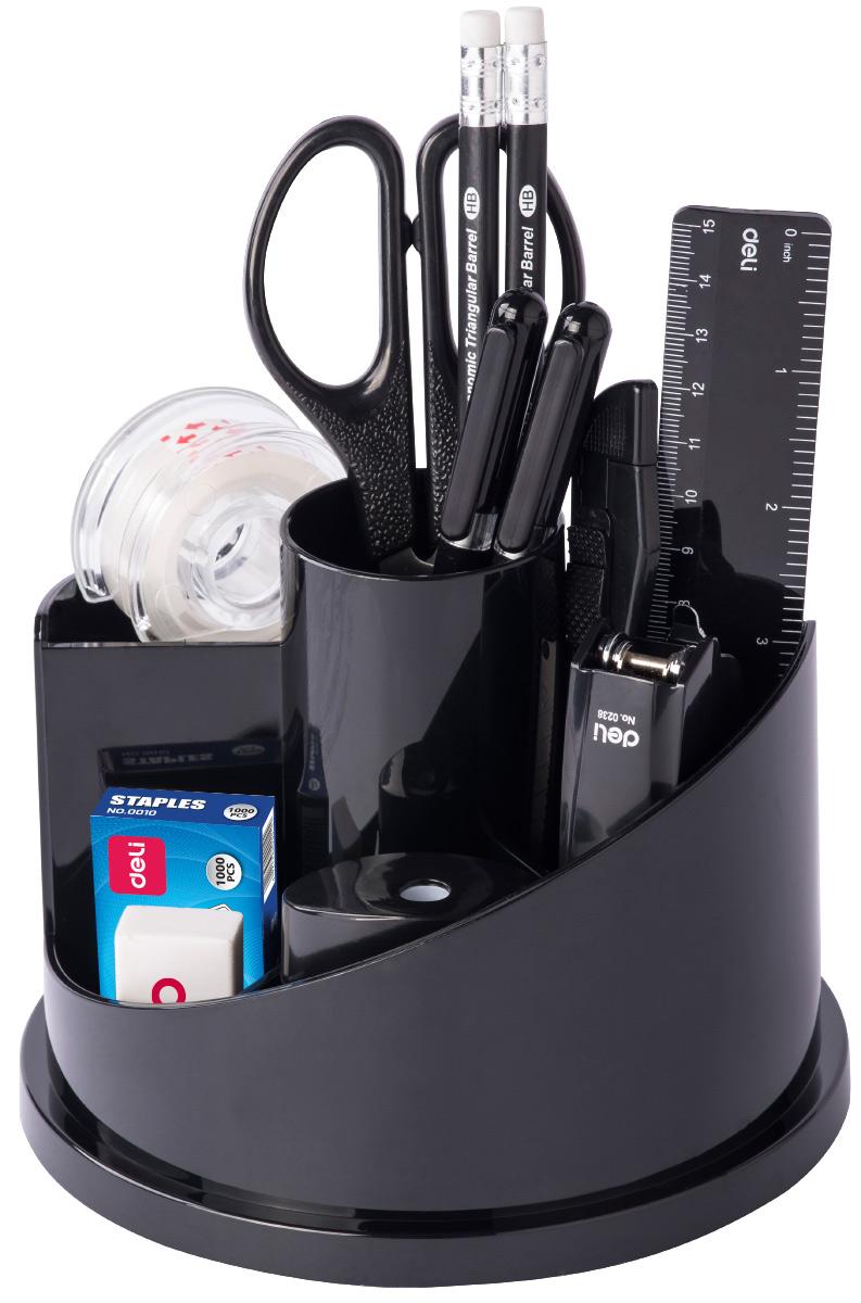 Deli Канцелярский набор цвет черный 15 предметовE38250AВращающийся настольный набор включает 15 предметов: антистеплер, нож, скрепки, ножницы, гвоздики, зажимы, ластик, 2 карандаша, скобы, ручку, линейку, точилку, степлер.Настольный набор из высококачественного пластика позволяет эффективно и эргономично организовать рабочее место.