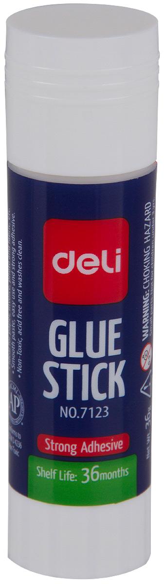 Deli Клей-карандаш 36 гE7123Удобный и практичный клей-карандаш незаменим на рабочем столе. Имеет прозрачную консистенцию, не токсичен.