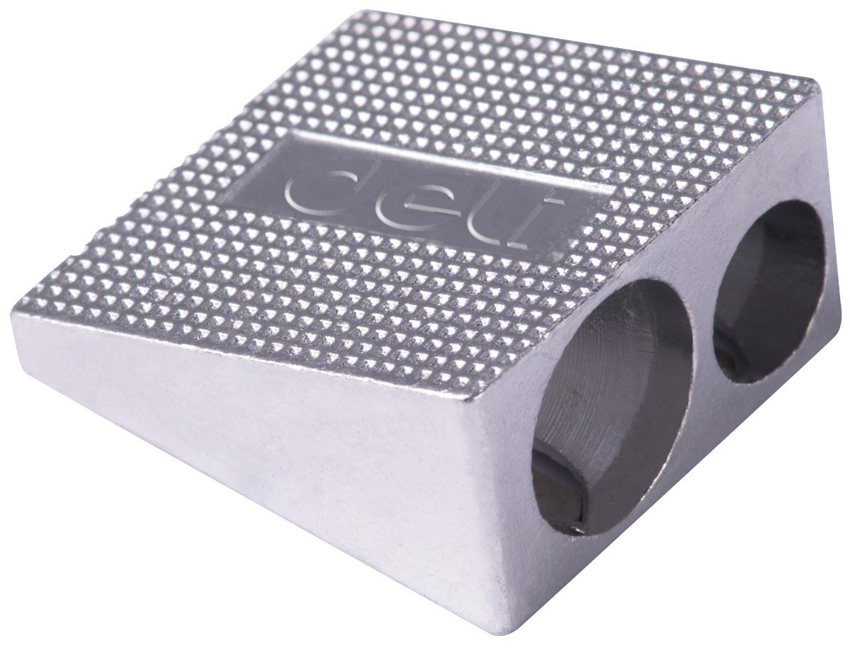 Deli Точилка с 2 отверстиямиE39762Надежная алюминиевая точилка с двумя отверстиями.