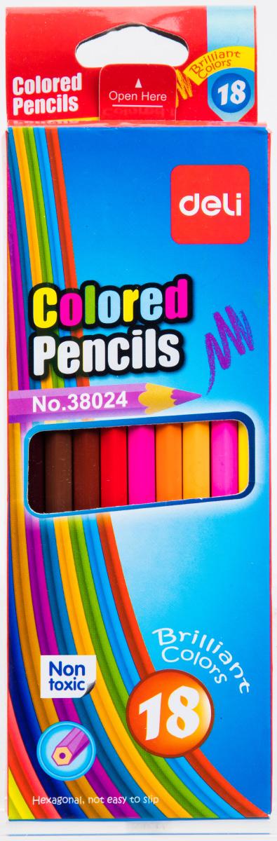 Deli Набор цветных карандашей 18 штE38024Цветные карандаши Deli не оставят равнодушными ваших детей и откроют юным художникам новые горизонты для творчества, а также помогут отлично развить мелкую моторику рук, цветовое восприятие, фантазию и воображение. Шестигранный корпус карандашей изготовлен из натурального дерева. Набор включает 18 цветных карандашей. Практичная картонная коробка обеспечивает удобное хранение карандашей.