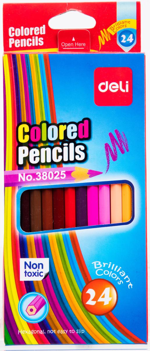 Deli Набор цветных карандашей 24 штE38025Цветные карандаши Deli не оставят равнодушными ваших детей и откроют юным художникам новые горизонты для творчества, а также помогут отлично развить мелкую моторику рук, цветовое восприятие, фантазию и воображение. Шестигранный корпус карандашей изготовлен из натурального дерева. Набор включает 24 цветных карандаша. Практичная картонная коробка обеспечивает удобное хранение карандашей.
