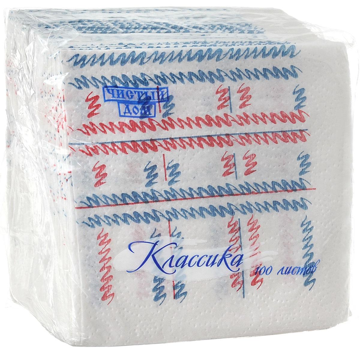 Салфетки бумажные Чистый дом Классика. Штрихи, однослойные, цвет: белый, синий, красный, 25 х 25 см, 100 шт4606920000043_синий, красныйОднослойные салфетки Чистый дом Классика выполнены из 100% целлюлозы. Салфетки подходят для косметического, санитарно-гигиенического и хозяйственного назначения. Нежные и мягкие. Салфетки украшены узором. Размер салфеток: 25 х 25 см.