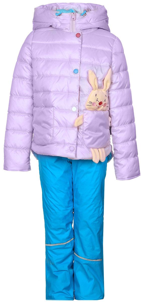Комплект для девочки Boom!: куртка, брюки, цвет: сиреневый, голубой. 70022_BOG_вар.2. Размер 86, 1,5-2 года70022_BOG_вар.2Комплект для девочки Boom! включает в себя куртку и брюки. Куртка с длинными рукавами и несъемным капюшоном выполнена из прочного полиэстера и имеет подкладку из полиэстера с добавлением хлопка. Наполнитель - эко-синтепон (150 г/м2). Модель застегивается на застежку-молнию спереди и имеет ветрозащитный клапан на липучках. Изделие имеет два накладных кармана спереди, один из которых выполнен в виде зайчика с объемной мордочкой и лапками. Удлиненный капюшон украшен небольшим помпоном и дополнен шнурком-кулиской со стопперами.Теплые брюки выполнены из полиэстера и имеют подкладку из мягкого флисового материала. Объем талии регулируется при помощи внутренней резинки с пуговицами. Брюки дополнены двумя втачными карманами спереди.Комплект дополнен светоотражающими элементами.
