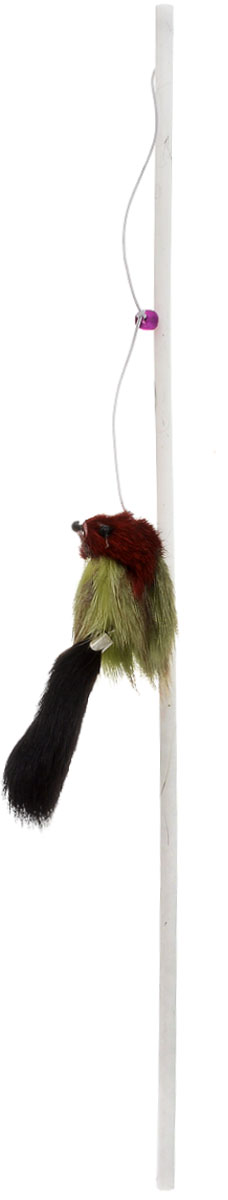Игрушка для кошек Zoobaloo Дразнилка. Меховой зверек, длина 40 см игрушка для кошек zoobaloo бамбук плюшевый мячик на резинке длина 75 см