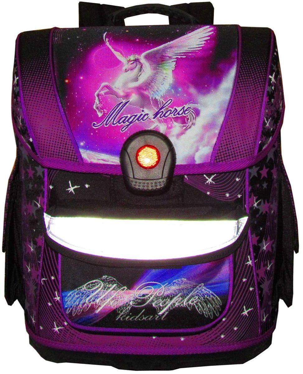 UFO people Ранец школьный цвет фиолетовый 12-20512-205Ортопедическая мягкая спинка-Замок Light Click, специально разработанный для компании ufo people ( замок из 100% PC пластик) -Жесткое водонепроницаемое дно.