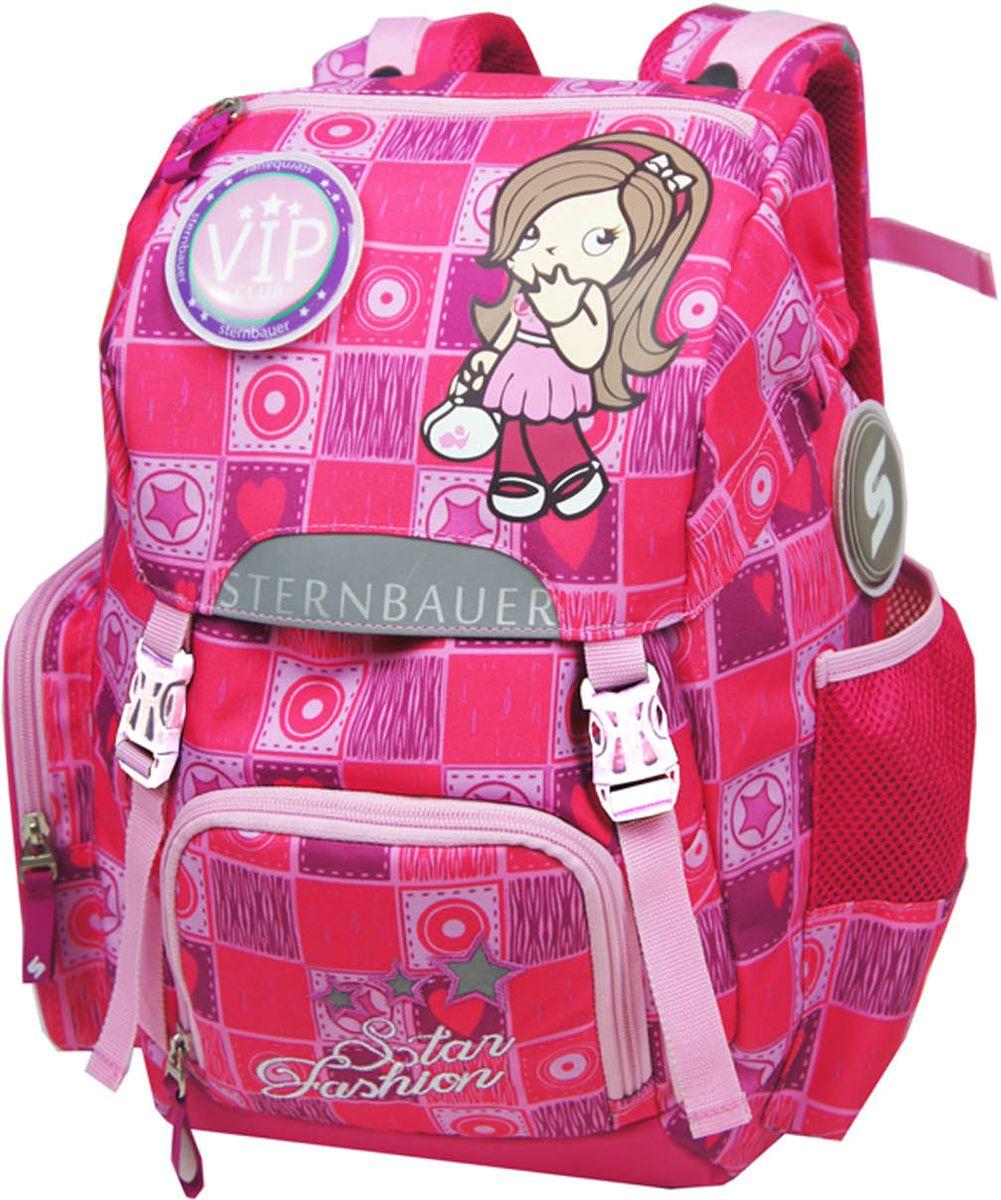 Sternbauer Рюкзак школьный SB цвет розовый 56015601Новая серия рюкзаков с кулискойКомпактный размер - вместительный объемВес всего 690 граммОртопедическая спинка с анатомическими вставкамиНагрудный фиксаторДополнительный внутренний объем за счет кулискиПлотное дно