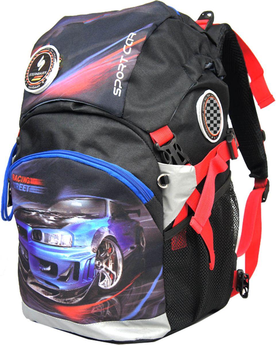 Sternbauer Рюкзак цвет черный 56105610Новая серия рюкзаков с кулиской, позволяющей увеличить внутренний объем.Компактный размер - вместительный объем.Вес рюкзака без наполнения всего 800 граммов.Рюкзак имеет ортопедическую спинку с анатомическими вставками и нагрудный фиксатор.