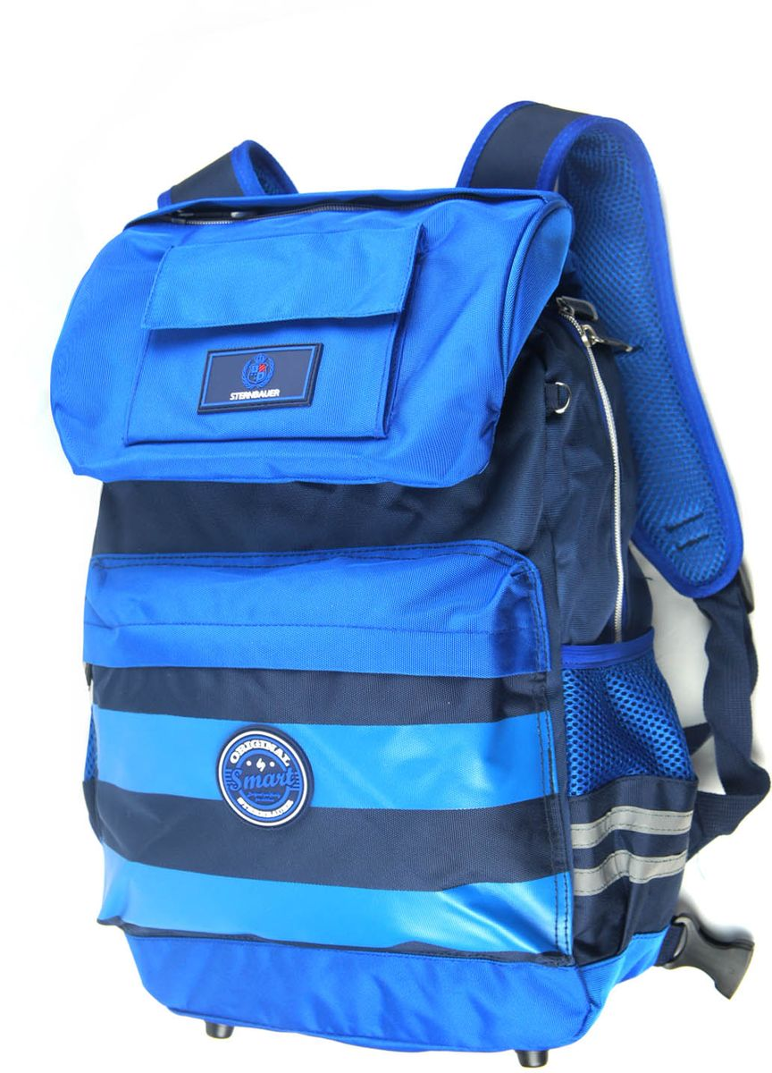 Sternbauer Рюкзак школьный SB с сумкой для обуви цвет голубой5645Рюкзак с сумкой для обуви Sternbauer SB имеет два объемных кармана на клапане, которым прикрыто основное отделение на застежке-молнии. Один из карманов закрывается на молнию, другой на липучку. Клапан так же закрывается на липучку. Внутри отделения находится карман-органайзер для письменных принадлежностей, два кармана на молнии и один широкий карман на резинке. Снаружи рюкзака имеется передний карман на застежке-молнии для пенала, два кармана с сеткой на резинке по бокам. Главное удобство рюкзака - возможность пристегнуть к нему сумку для обуви. Прикрепленная на четыре фастекса, сумка с равномерно распределенной массой не будет занимать руки ребенка. Однако, ее можно носить и отдельно, благодаря встроенному в нее регулируемому ремню через плечо. Так же сумка для сменной обуви обладает не только вместительным отделением на застежке-молнии, но и кармашком сзади для мелочей. Вес рюкзака всего 800 грамм. Рюкзак оснащен ортопедической спинкой с анатомическими вставками, которые заботятся об осанке ребенка, широкими мягкими регулируемыми лямками, удобной ручкой для переноски, грудным ремнем на фастексе, упрочненным складывающимся твердым днищем, защищенным пластиковыми ножками от протирания. Рюкзак, как и сумка для обуви, дополнен светоотражающими элементами, которые сделают ребенка видимым на дороге в темное время суток.