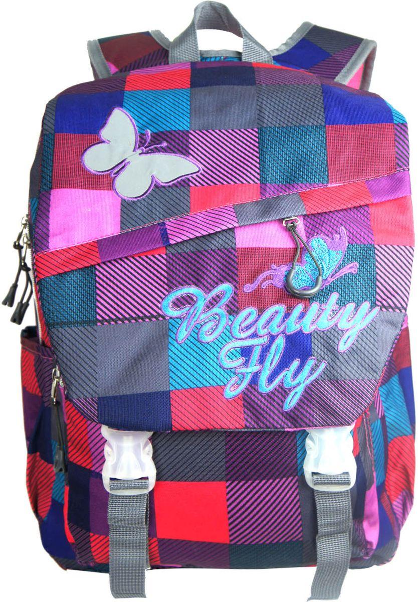 UFO People Рюкзак Beauty Fly5932Рюкзак UFO People Beauty Fly - легкий и прочный рюкзак, спроектированный специально для детей начальной и средней школы.Рюкзак имеет жесткую ортопедическую спинку с мягкими анатомическими вставками и поддержкой в области поясницы. Основное вместительное отделение подойдет для учебников и тетрадей формата А4+. Рюкзак имеет плотное откидное дно, нагрудный фиксатор с двумя параметрами регулировки, усиленную ручку для поддержки и петлю для подвешивания. Внутри отделения находятся подвесной карман для ценных вещей и ярлык для подписи. Светоотражающие элементы помогут сделать вашего ребенка более заметным на дороге в темное время суток.