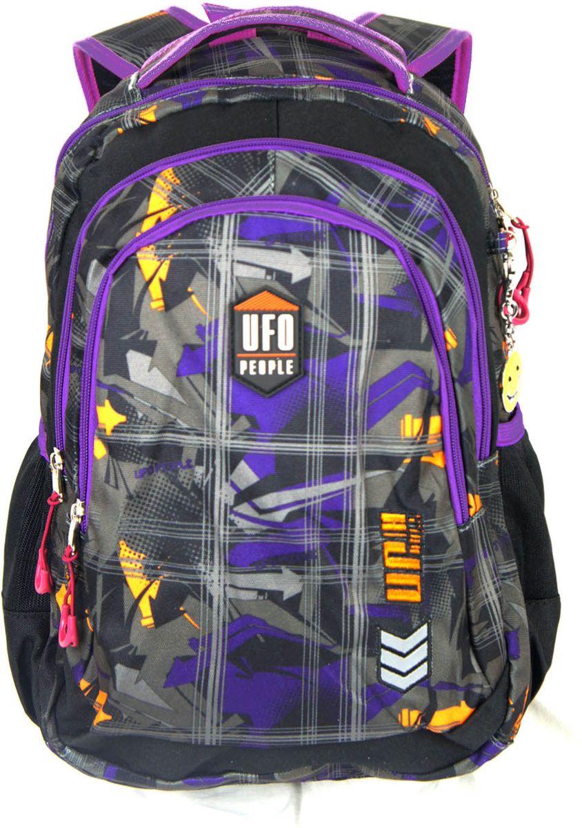 UFO People Рюкзак цвет фиолетовый 59455945Рюкзак UFO People - легкий и прочный рюкзак, спроектированный специально для детей начальной и средней школы.Рюкзак имеет жесткую ортопедическую спинку с мягкими анатомическими вставками и поддержкой в области поясницы. Основное вместительное отделение подойдет для учебников и тетрадей формата А4+. Рюкзак имеет плотное откидное дно, нагрудный фиксатор с двумя параметрами регулировки, усиленную ручку для поддержки и петлю для подвешивания. Внутри отделения находятся подвесной карман для ценных вещей и ярлык для подписи. Светоотражающие элементы помогут сделать вашего ребенка более заметным на дороге в темное время суток.