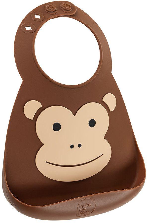 Make My Day Нагрудник Baby Bib Monkey детские силиконовые силиконовые водонепроницаемый нагрудник чтобы съесть ужин карман слюны полотенце bibs bib ребенка t