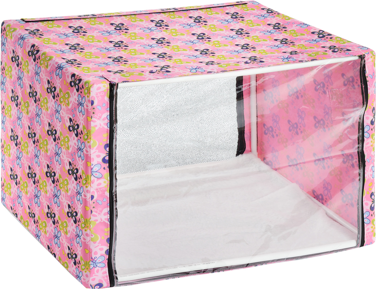 Клетка для животных Elite Valley, выставочная, цвет: розовый, голубой, зеленый, 90 х 70 х 70 смК-10/3_бабочки_розовыйКлетка Elite Valley предназначена для показа кошек и собак на выставках. Изделие выполнено из плотного текстиля и каркаса. Клетка оснащена пленкой и сеткой, которые закрываются на застежку-молнию. В комплект палатки входит съемная подстилка, выполненная из искусственного меха.В собранном виде палатка довольно компактна, при хранении занимает мало места.Палатка переносится в сумке, которая входит в комплект.Для удобной переноски чехол имеет ручки, также на чехле имеется 2 больших кармана.