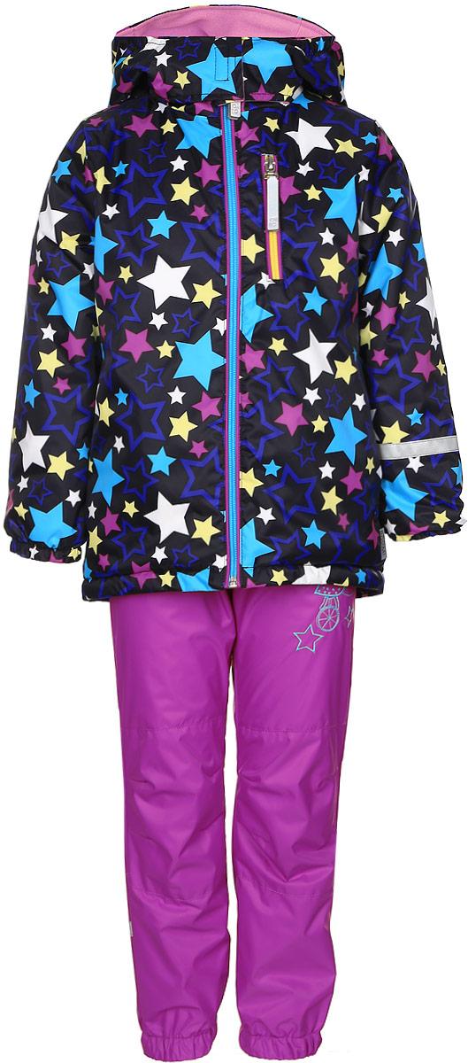 Комплект для девочки Boom!: куртка, брюки, цвет: черный, розовый. 70042_BOG_вар.1. Размер 80, 1,5-2 года70042_BOG_вар.1Комплект для девочки Boom! включает в себя брюки и куртку. Комплект изготовлен из непромокаемой и ветрозащитной мембранной ткани, подкладка выполнена из полиэстера с добавлением вискозы. Утеплитель - материал FiberSoft. Комплект растет вместе с ребенком: распустив специальные швы на подкладке, вы сможете увеличить его на один размер.Брюки прямого кроя и стандартной посадки оснащены съемными эластичными подтяжками. Объем талии регулируется при помощи внутренней эластичной резинки с пуговицами. Брючины дополнены эластичными противоснежными манжетами с регулируемыми штрипками. Изделие дополнено двумя втачными карманами спереди. Куртка с несъемным капюшоном и воротником-стойкой имеет длинные рукава и застегивается на застежку-молнию с защитой подбородка. Капюшон дополнен липучками, позволяющими защитить шею от ветра. Манжеты рукавов оснащены эластичными резинками. Спереди расположены два втачных открытых кармана и нагрудный карман на застежке-молнии. Куртка украшена принтом с изображением множества звезд.