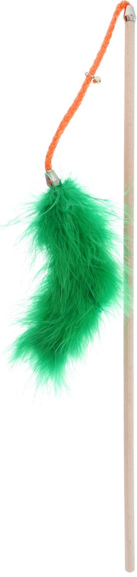 Игрушка для кошек Zoobaloo Бамбук марабу с бубенчиком, длина 75 см игрушки для животных zoobaloo игрушка для кошки бамбук плюшевый мяч на резинке 60см
