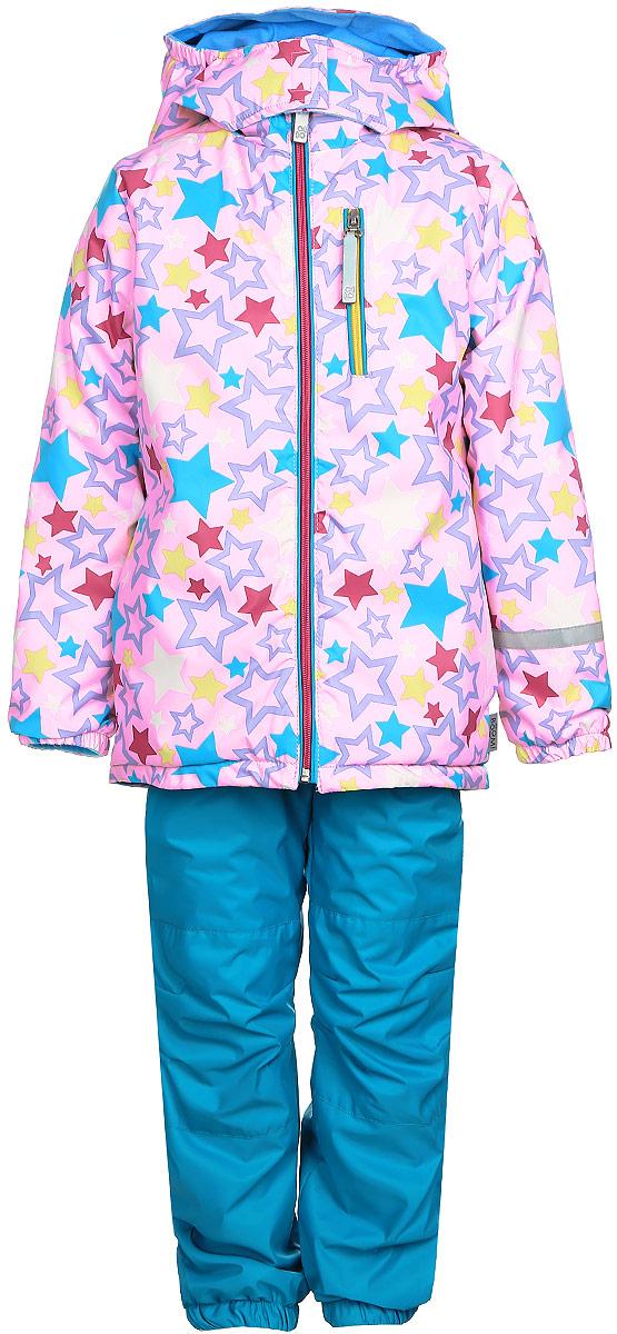 Комплект для девочки Boom!: куртка, брюки, цвет: розовый, бирюзовый. 70042_BOG_вар.2. Размер 110, 5-6 лет70042_BOG_вар.2Комплект для девочки Boom! включает в себя брюки и куртку. Комплект изготовлен из непромокаемой и ветрозащитной мембранной ткани, подкладка выполнена из полиэстера с добавлением вискозы. Утеплитель - материал FiberSoft. Комплект растет вместе с ребенком: распустив специальные швы на подкладке, вы сможете увеличить его на один размер.Брюки прямого кроя и стандартной посадки оснащены съемными эластичными подтяжками. Объем талии регулируется при помощи внутренней эластичной резинки с пуговицами. Брючины дополнены эластичными противоснежными манжетами с регулируемыми штрипками. Изделие дополнено двумя втачными карманами спереди. Куртка с несъемным капюшоном и воротником-стойкой имеет длинные рукава и застегивается на застежку-молнию с защитой подбородка. Капюшон дополнен липучками, позволяющими защитить шею от ветра. Манжеты рукавов оснащены эластичными резинками. Спереди расположены два втачных открытых кармана и нагрудный карман на застежке-молнии. Куртка украшена принтом с изображением множества звезд.