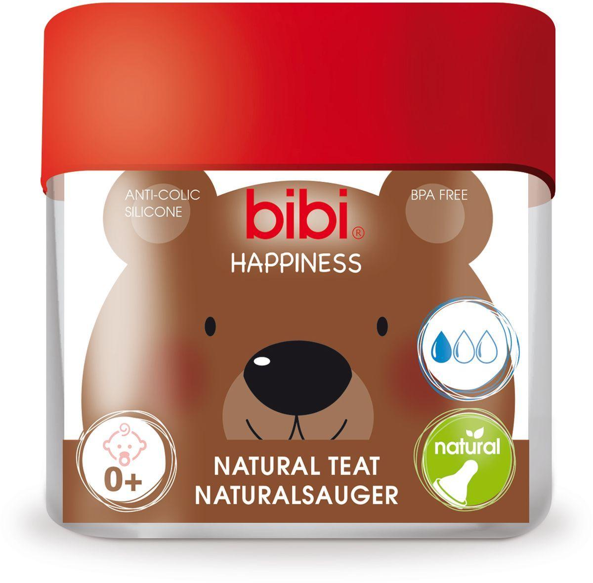 Bibi Соска силиконовая для бутылочки Bibi Happiness от 0 месяцев 2 шт