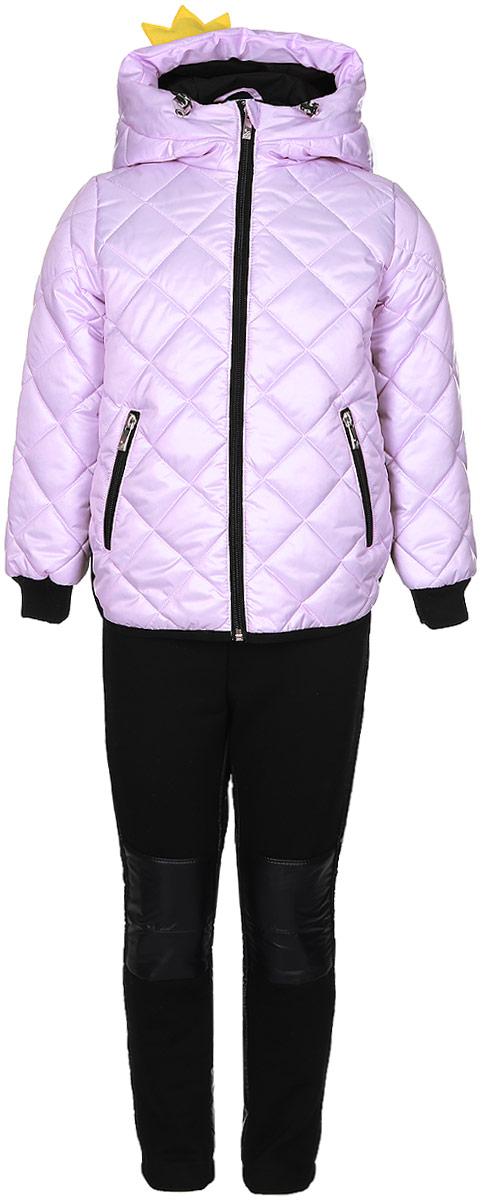 Комплект для девочки Boom!: куртка, брюки, цвет: розовый, черный. 70003_BOG_вар.2. Размер 98, 3-4 года70003_BOG_вар.2Комплект для девочки Boom! включает в себя куртку и брюки. Куртка с длинными рукавами и несъемным капюшоном выполнена из прочного полиэстера и имеет подкладку из полиэстера с добавлением вискозы. Капюшон регулируется при помощи эластичного шнурка со стопперами и дополнен нашивкой в виде короны. Модель застегивается на застежку-молнию спереди. Изделие имеет два прорезных кармана спереди на застежке-молнии. Понизу куртка регулируется при помощи эластичного шнурка со стопперами. Сзади модель украшена принтовыми надписями. Теплые брюки выполнены из полиэстера. На талии изделие дополнено широкой эластичной резинкой. Комплект дополнен светоотражающими элементами.