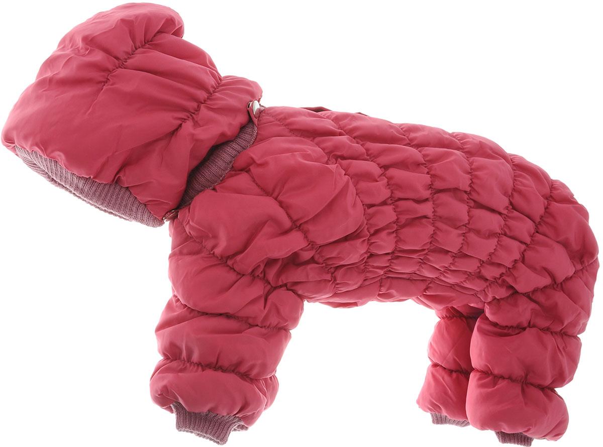 Комбинезон для собак Kuzer-Moda Дутик, зимний, унисекс, цвет: темно-розовый. Размер MKZ002188Зимний комбинезон для собак Kuzer-Moda Дутик отлично подойдет для прогулок в холодное время года.Комбинезон изготовлен из полиэстера, защищающего от ветра и снега, с утеплителем из синтепона, который сохранит тепло даже в сильные морозы. Комбинезон с капюшоном застегивается на кнопки, благодаря чему его легко надевать и снимать. Капюшон пристегивается при помощи кнопок. Низ рукавов и брючин оснащен трикотажными манжетами, которые мягко обхватывают лапки, не позволяя просачиваться холодному воздуху. На пояснице комбинезон затягивается на шнурок-кулиску.Благодаря такому комбинезону простуда не грозит вашему питомцу.Длина по спинке 31 см.Одежда для собак: нужна ли она и как её выбрать. Статья OZON Гид