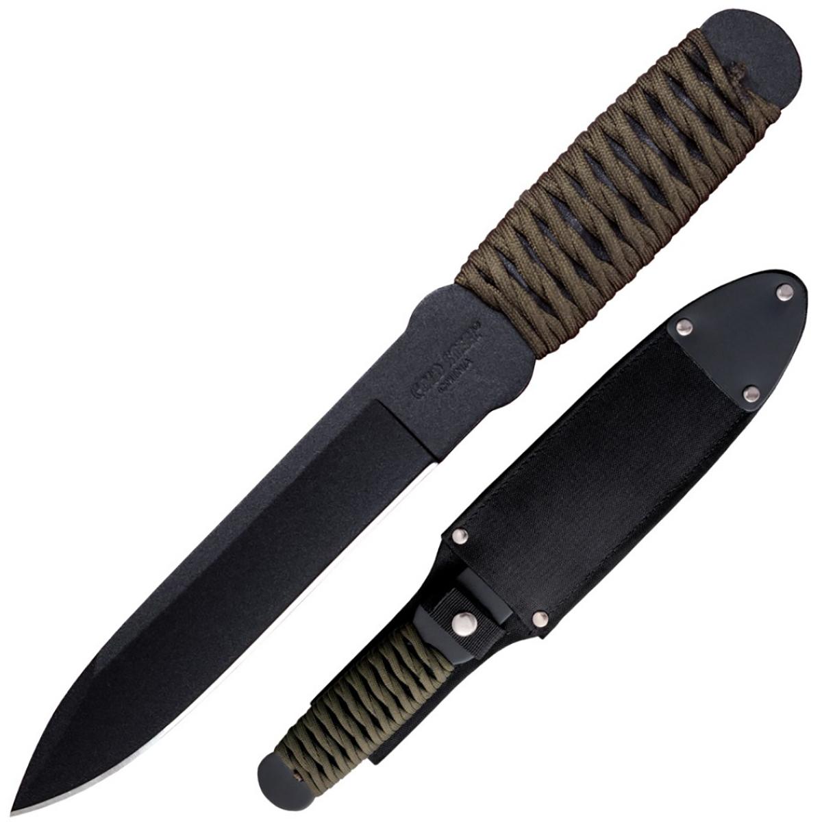 Нож Cold Steel True Flight Thrower, с ножнами, общая длина 30,5 смCS/80TFTCZОригинальный нож модели True Flight Thrower, выполненный с фиксированным клинком, разработан всемирно известным производителем Cold Steel. Это отличное оружие для бросков в цель.Нож оснащен стойкой эргономичной рукояткой, которая дополнена паракордом, для комфортного удержания в руках. При желании не составит забот её распустить и сменить на другую. Клинок с гладкой заточкой изготовлен из высококачественной нержавеющей стали.Никакие метания и нагрузки не изменят его формы, матовое покрытие надёжно защитит от окисления. Оружие укомплектовано превосходными ножнами. Особые удобства придаёт ремешок для фиксации и пластиковые вставки. Ножны гарантируют надёжное хранение и перевозку данного изделия. Размер ножа в открытом виде: 30,5 см.Толщина обуха: 5 мм.