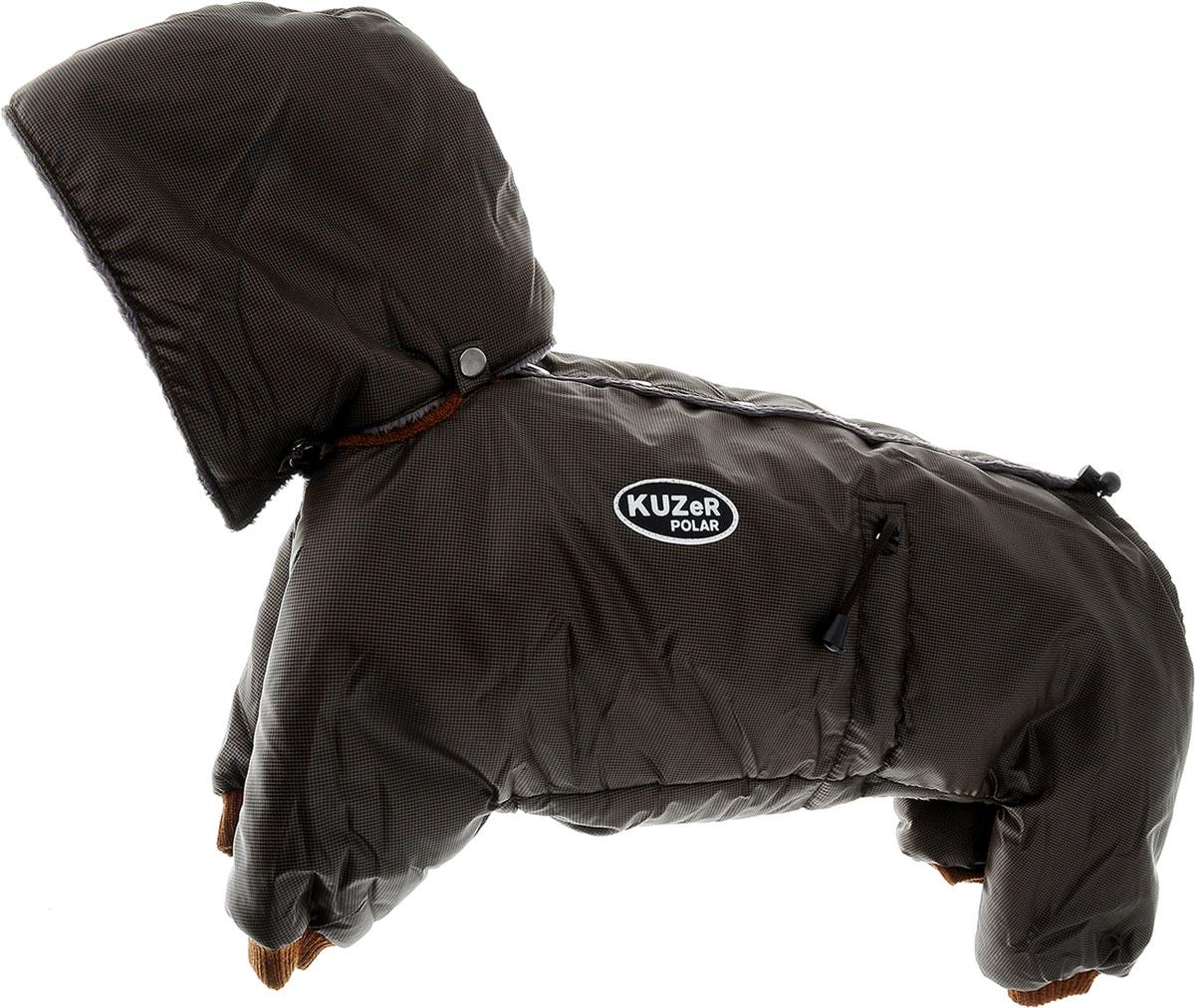 Комбинезон для собак Kuzer-Moda Полярник, зимний, унисекс, цвет: коричневый, черный. Размер LKZ001808Зимний комбинезон для собак Kuzer-Moda Полярник отлично подойдет для прогулок в холодное время года. Комбинезон изготовлен из плащевки, защищающей от ветра и снега, с утеплителем из синтепона, который сохранит тепло даже в сильные морозы. Комбинезон с капюшоном застегивается на кнопки, благодаря чему его легко надевать и снимать. Капюшон пристегивается при помощи кнопок. Низ рукавов и брючин оснащен трикотажными манжетами, которые мягко обхватывают лапки, не позволяя просачиваться холодному воздуху. На пояснице комбинезон затягивается на шнурок-кулиску.Благодаря такому комбинезону простуда не грозит вашему питомцу.Длина по спинке 34 см.