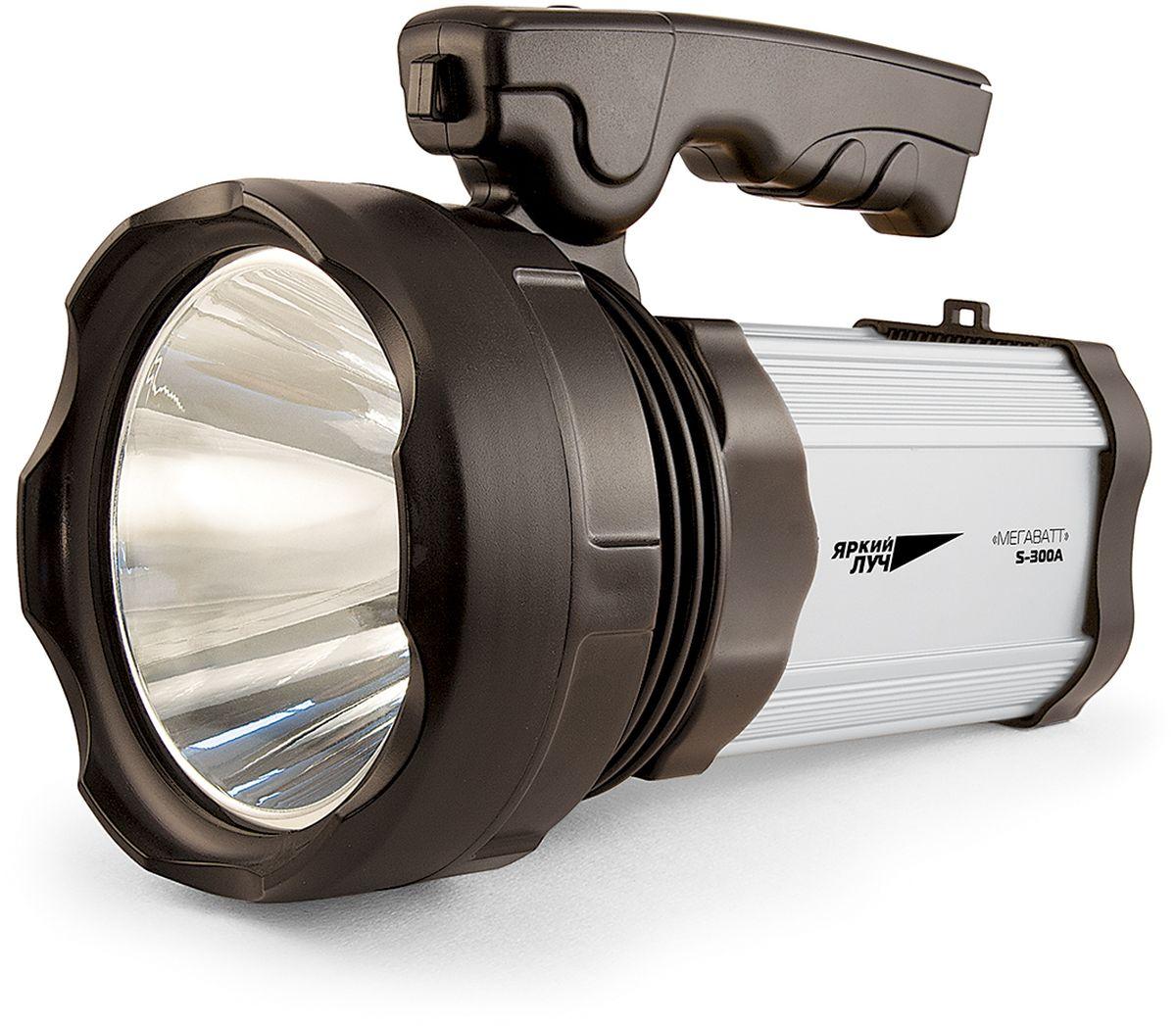 Фонарь ручной Яркий Луч S-300A. Мегаватт4606400105374- Светодиод CREE XM-L мощностью 10 Ватт 300 лм обеспечивает направленный свет дальностью до 418 метров- Два ярких СОВ светодиода суммарной мощностью 10 Ватт 450 лм на боковой поверхности для заливного света- 3 режима работы CREE XM-L светодиода: 100%, 25% и мигающий- 2 режима работы СОВ светодиодов: 100% и 25%- Возможность USB-подзарядки телефонов, планшетов и пр. от аккумулятора фонаря - Штатное зарядное устройство с индикатором заряда- Удобная эргономичная ручка- Продолжительная работа на кислотно-свинцовом аккумуляторе 4 В 7000 мАч (5 часов в режиме 100%)- Материал корпуса: ABS-пластик и алюминийВ комплект входят ремень и зарядное устройство. Во время зарядки фонаря светодиод на зарядном устройстве загорится красным цветом. При полностью заряженном аккумуляторе цвет поменяется на зеленый. Время зарядки аккумулятора составляет 13 - 15 ч.