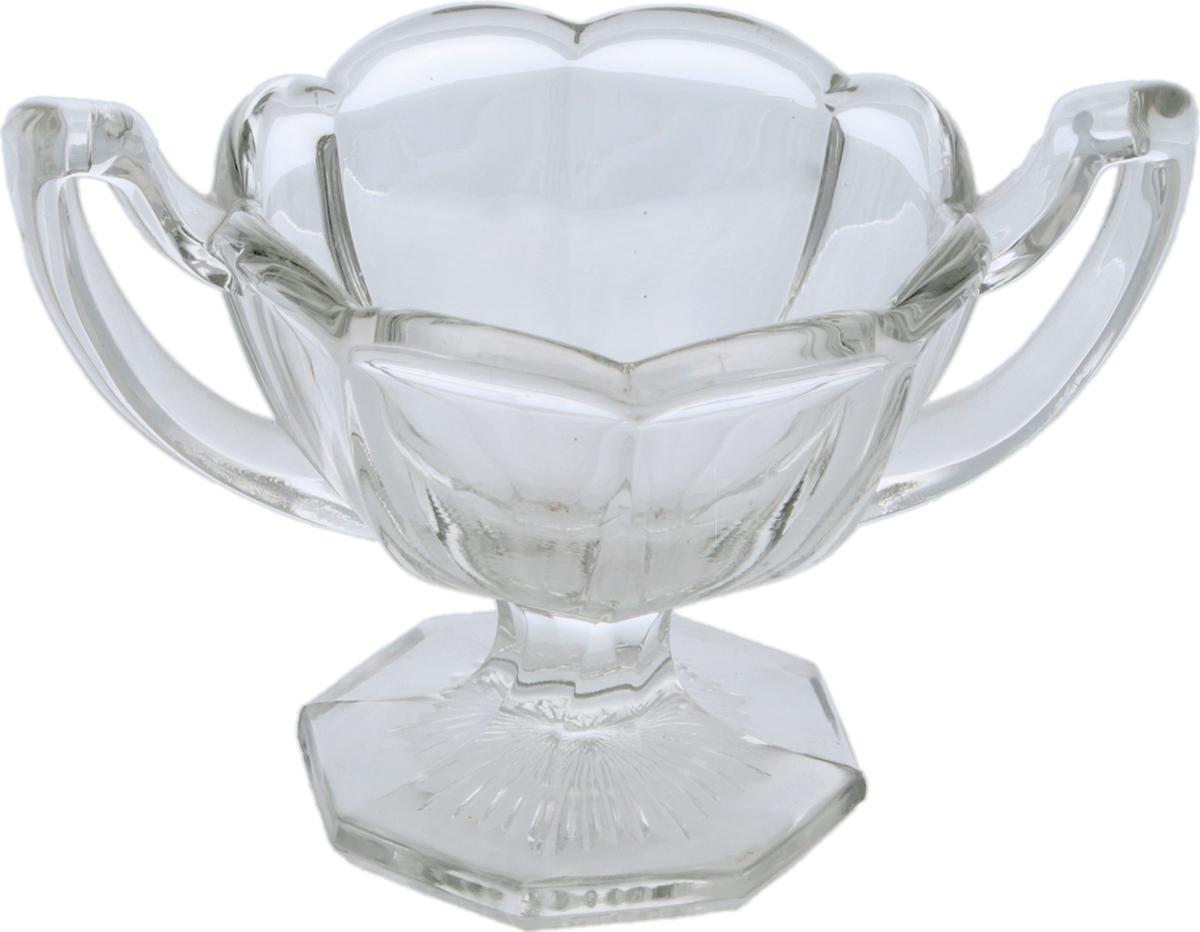 Сахарница эпохи Арт Деко. Стекло. Chippendale glass, Великобритания, 1930-е гг.  Размер: высота 9 см, диаметр 10 см.  Сохранность хорошая, без повреждений, без сколов, без утрат.
