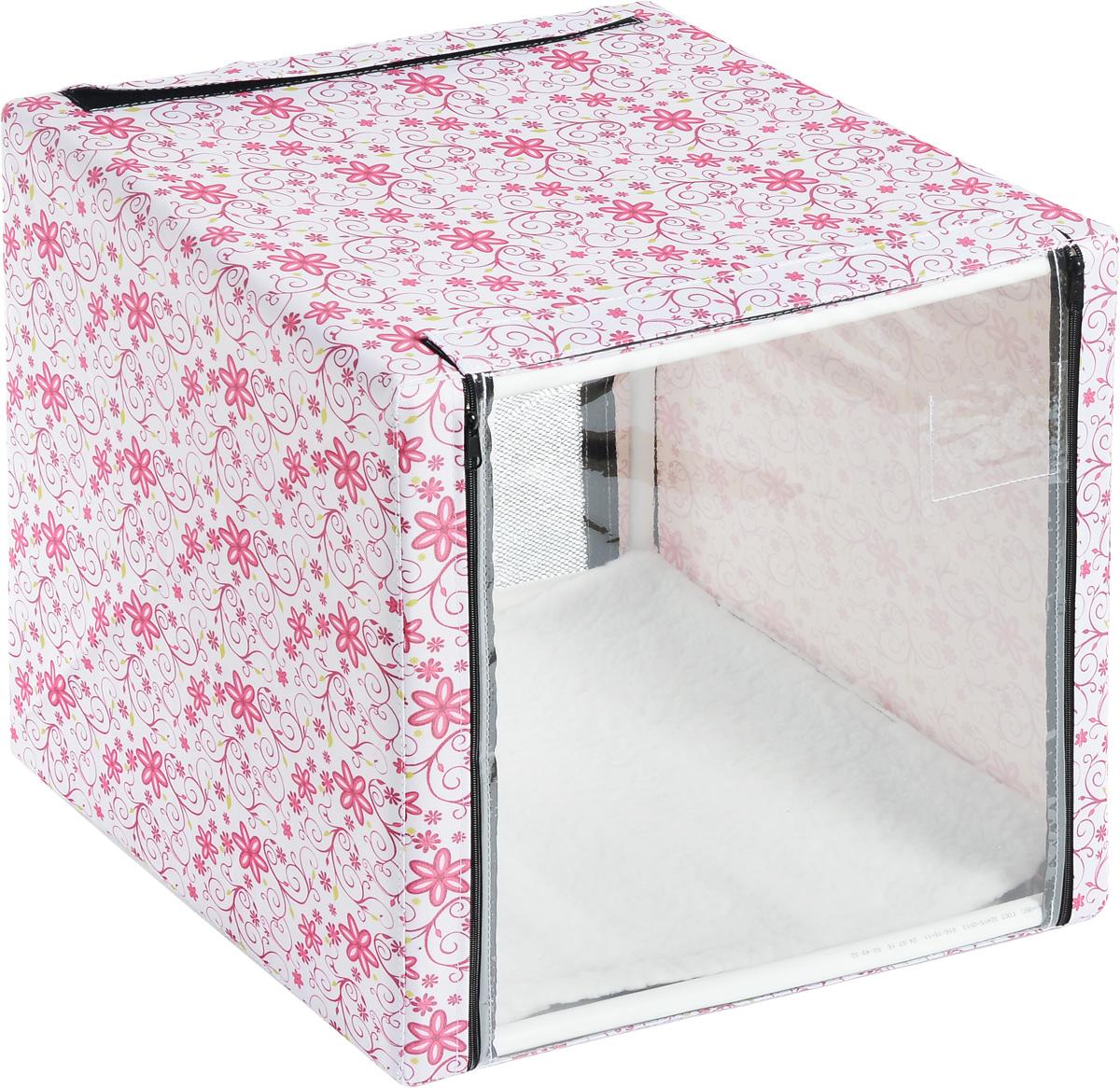 Клетка для животных  Elite Valley , выставочная, цвет: белый, розовый, зеленый, 56 х 56 х 56 см. К-10/1