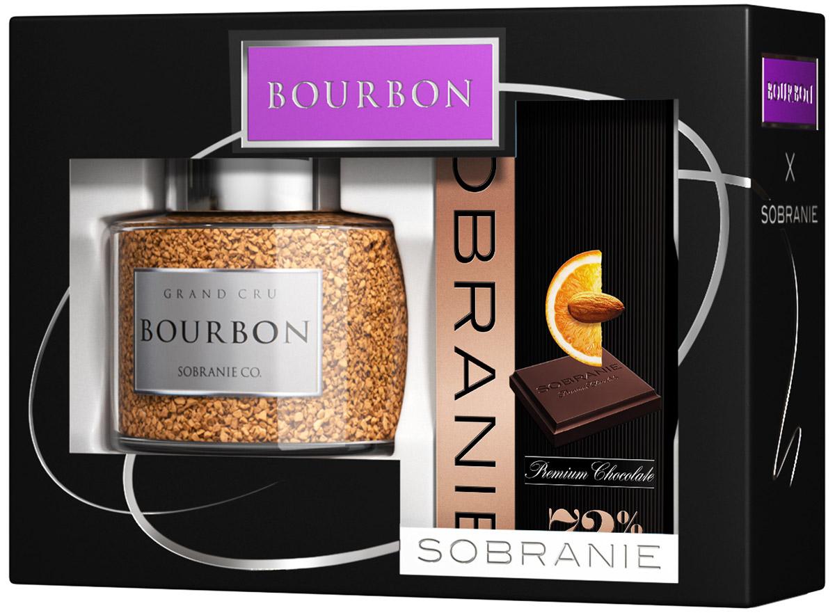 Sobranie Набор Горький шоколад с апельсином и орехами, 90 г + Кофе растворимый Bourbon, 100 г