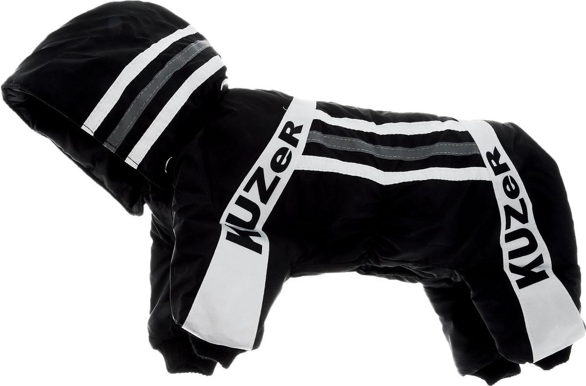 Комбинезон для собак Kuzer-Moda Игла, утепленный, для мальчика, цвет: черный, белый. Размер SKZ000505Комбинезон для собак Kuzer-Moda  Игла отлично подойдет для прогулок в прохладную погоду.Комбинезон изготовлен из прочной, ткани, которая сохранит тепло и обеспечит отличный воздухообмен. Комбинезон с капюшоном застегивается на кнопки, благодаря чему его легко надевать и снимать. Капюшон пристегивается при помощи кнопок. Ворот, низ рукавов и брючин оснащены трикотажными резинками, которые мягко обхватывают шею и лапки, не позволяя просачиваться холодному воздуху. Изделие снабжено светоотражающей лентой. На пояснице имеются затягивающиеся шнурки, которые также не позволяют проникнуть холодному воздуху.Благодаря такому комбинезону простуда не грозит вашему питомцу, и он не даст любимцу продрогнуть на прогулке. Длина по спинке 30 см. Обхват шеи: 20 см. Обхват груди: 40 см.
