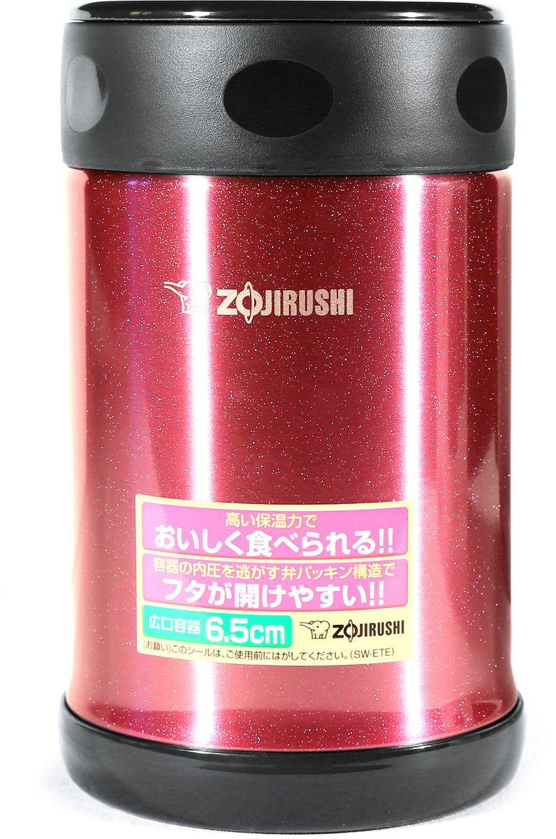 Термоконтейнер Zojirushi, цвет: вишневый, черный, 0,5 лSW-ETE 50-PEУдобный термоконтейнер Zojirushi с широким горлом предназначен для транспортировки и хранения первых и вторых блюд. Благодаря тефлоновому покрытию еда не имеет прямого контакта с металлом, сохраняя свой изначальный вкус. Ориентировочное значение температуры для полностью заполненного термоса при начальной температуре жидкости в термосе 95 °C и температуре окружающего воздуха 20 °C через 6 часов: 64 °C. За легкость и прочность, сочетающиеся с великолепным сохранением температуры находящихся внутри продуктов, их по достоинству оценили любители активного отдыха. Такой термоконтейнер будет практичным решением для тех, кто привык брать обед на работу или для ребенка, который может взять горячее питание в школу.В комплект входит удобная и надежная сумка для переноски и хранения.Объем: 0,5 л.Диаметр максимальный: 90 мм.Высота: 150 мм.Вес: 0,32кг.Вес с сумкой: 0,4 кг.