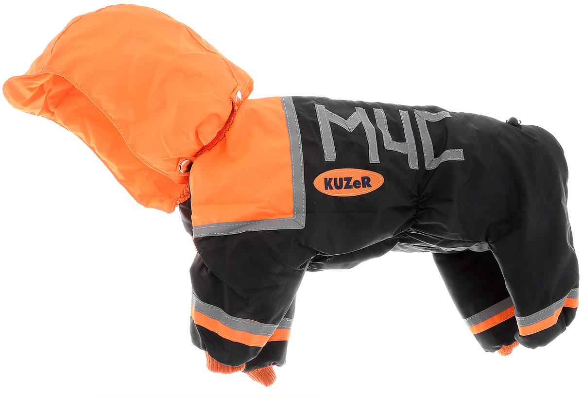 Комбинезон для собак Kuzer-Moda МЧС, для мальчика, утепленный, цвет: черный, оранжевый. Размер MKZ001680Комбинезон для собак Kuzer-Moda МЧС отлично подойдет для прогулок в прохладную погоду.Комбинезон изготовлен из прочной, ткани, которая сохранит тепло и обеспечит отличный воздухообмен. Комбинезон с капюшоном застегивается на кнопки, благодаря чему его легко надевать и снимать. Капюшон пристегивается при помощи кнопок. Ворот, низ рукавов и брючин оснащены резинками, которые мягко обхватывают шею и лапки, не позволяя просачиваться холодному воздуху. Изделие снабжено светоотражающими элементами. На пояснице имеются затягивающиеся шнурки, которые также не позволяют проникнуть холодному воздуху.Благодаря такому комбинезону простуда не грозит вашему питомцу, и он не даст любимцу продрогнуть на прогулке. Длина по спинке 33 см.