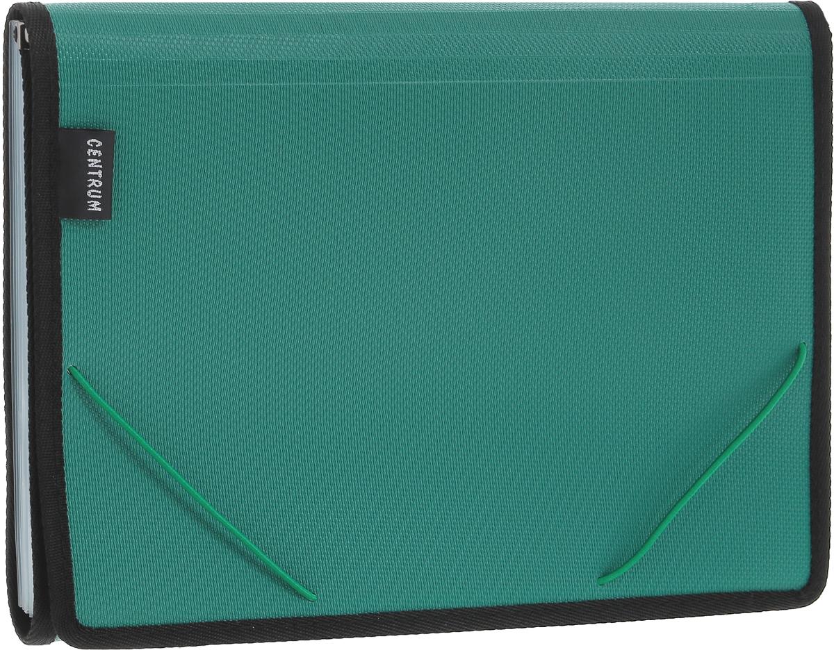 Centrum Папка на резинке 6 отделений цвет зеленый80017_зеленыйПапка Centrum - это удобный и функциональный офисный инструмент, предназначенный для хранения и транспортировки рабочих бумаг и документов формата А4.Папка с двойной угловой фиксацией резиновой лентой изготовлена из прочного высококачественного пластика и оформлена тиснением под текстиль. Папка состоит из 6 вместительных отделений с пластиковыми разделителями. Папка имеет опрятный и неброский вид. Края папки отделаны полиэстером, а уголки имеют закругленную форму, что предотвращает их загибание и помогает надолго сохранить опрятный вид обложки.Папка - это незаменимый атрибут для любого студента, школьника или офисного работника. Такая папка надежно сохранит ваши бумаги и сбережет их от повреждений, пыли и влаги.