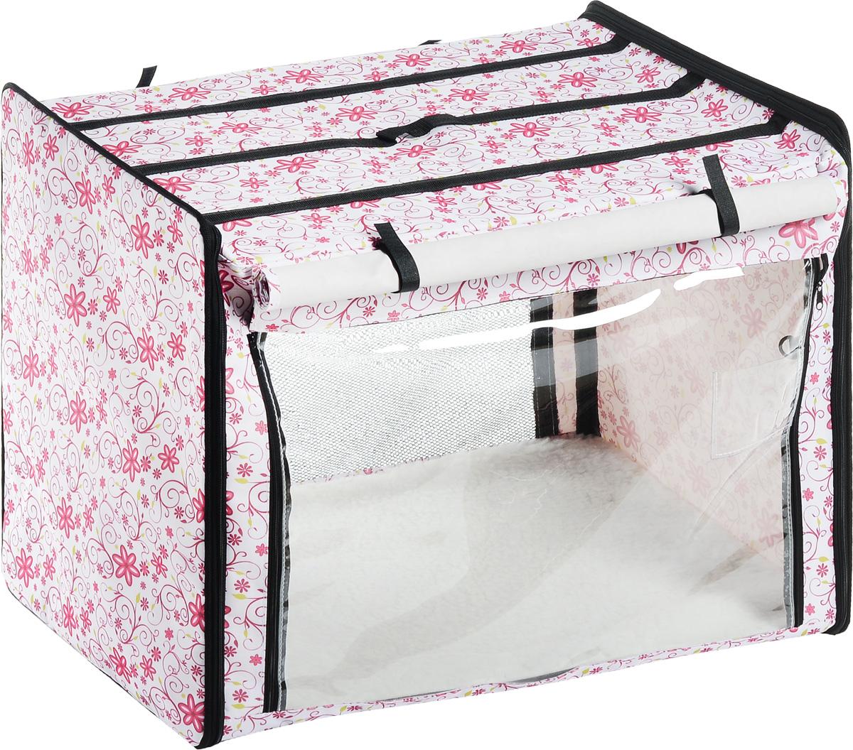 Клетка выставочная Elite Valley, цвет: белый, розовый, зеленый, 75 х 52 х 62 смК-2_белый фон, цветыКлетка Elite Valley предназначена для показа кошек и собак на выставках. Она выполнена из плотного текстиля, каркас - металлический. Клетка оснащена съемными пленкой и сеткой. Внутри имеется мягкая подстилка, выполненная из искусственного меха. Прозрачную пленку можно прикрыть шторкой. Сверху расположена ручка для переноски.В комплекте сумка-чехол для удобной транспортировки.