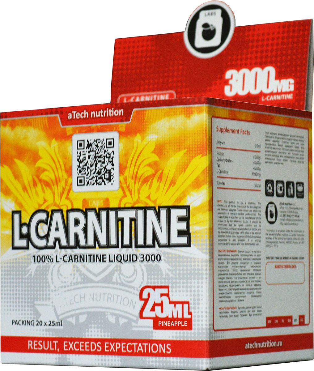 L-карнитин aTech Nutrition L-Carnitine 3000 Liquid, ананас, 25 мл, 20 шт креатин atech nutrition creatine monohydrate 100% 300 г