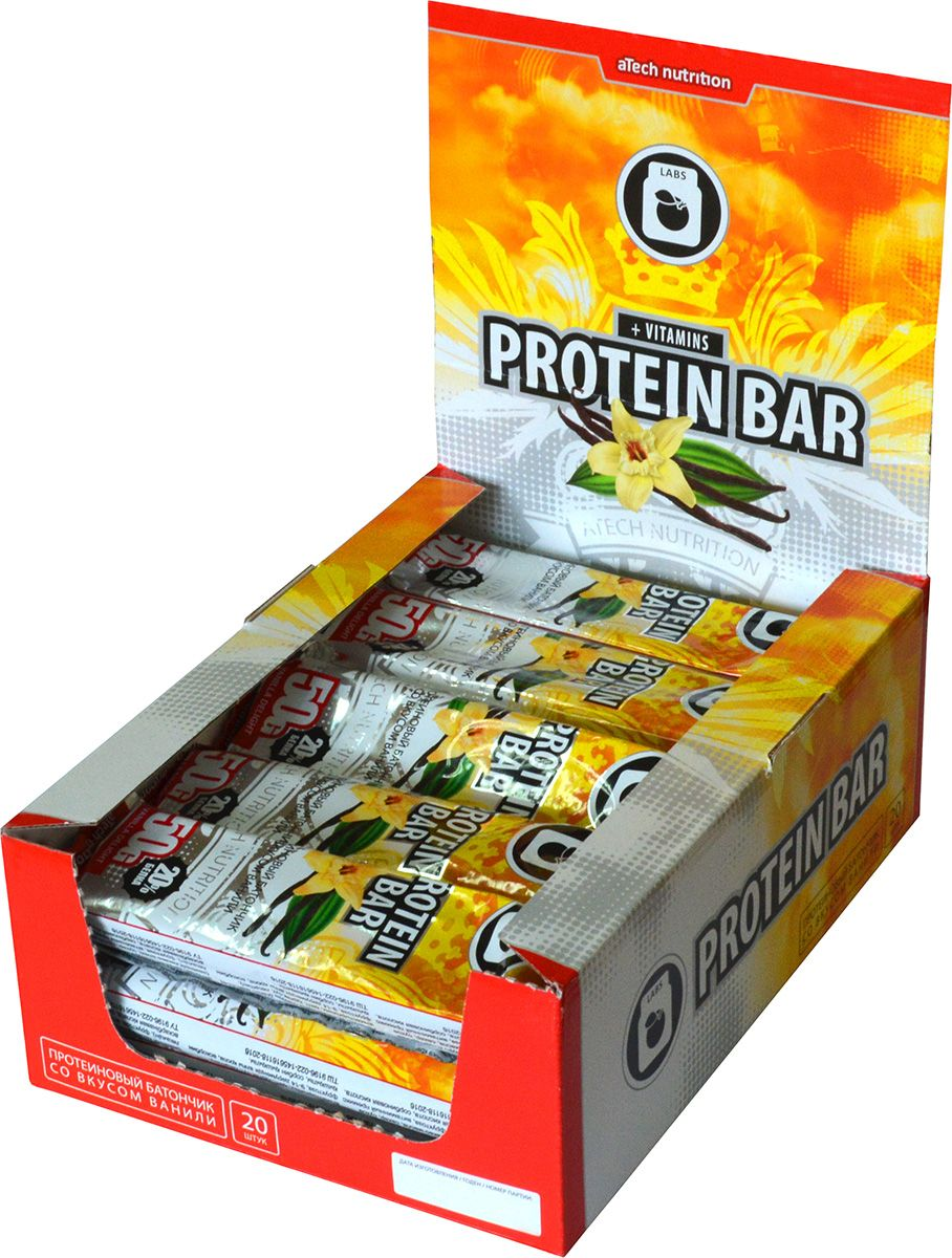 Спортивный батончик aTech Nutrition Protein Bar, ваниль, 50 г, 20 шт quest nutrition questbar protein bar cinnamon roll 12 2 12oz bars