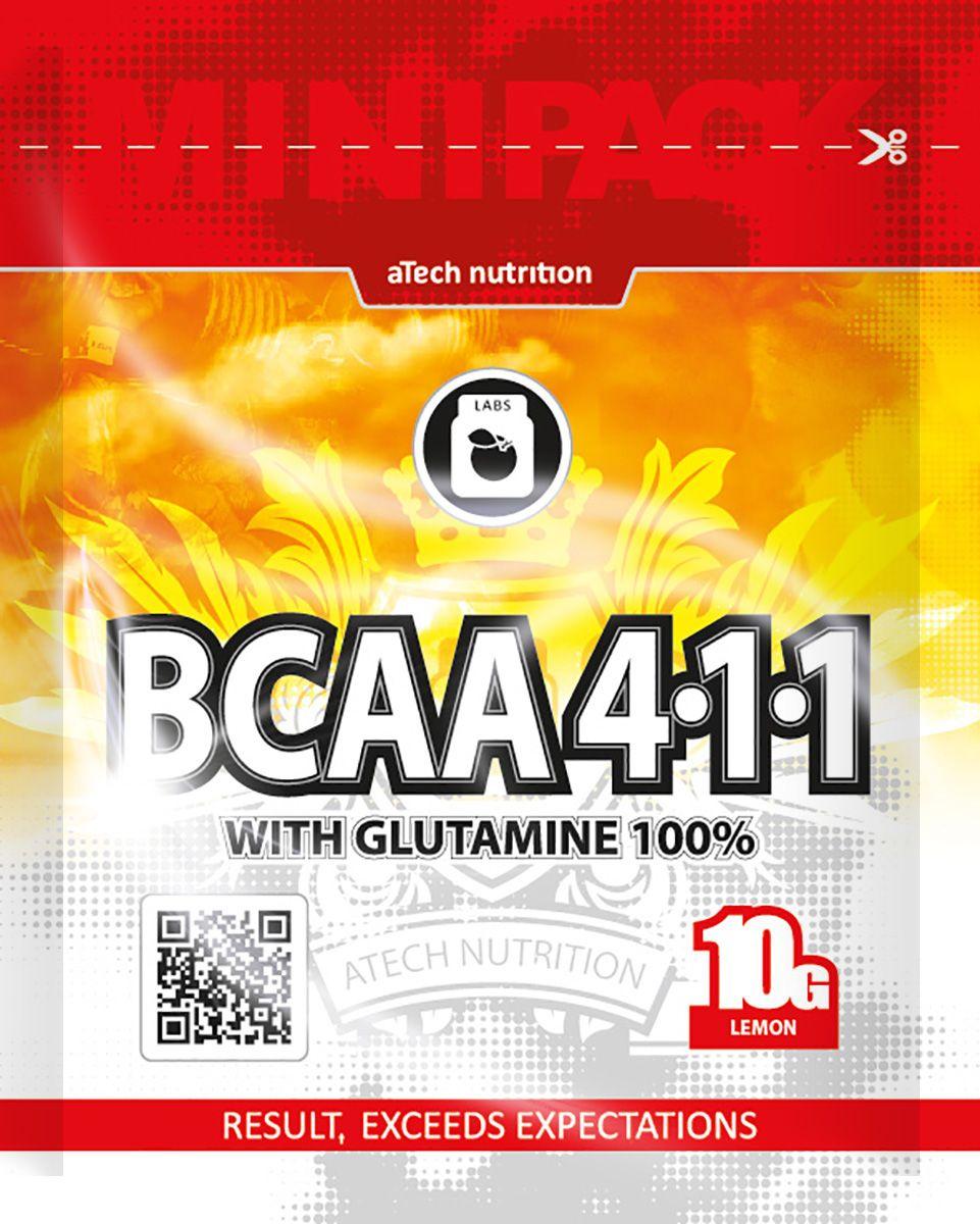 Комплекс аминокислотный aTech Nutrition BCAA 4:1:1 с глютамином, лимон, 10 г4600017784984ВСАА 4:1:1 под ТМ aTech Nutrition это уникальный специализированный, состоящий из необходимых организму незаменимых аминокислот. Комплекс ВСАА 4:1:1 универсален - принимать его могут спортсмены любого профиля, независимо от типа и частоты физических нагрузок, в том числе, находящихся под контролем РУСАДА или иных антидопинговых ассоциаций. В состав комплекса ВСАА 4:1:1 входят в сбалансированной пропорции незаменимые аминокислоты, которые не воспроизводятся организмом самостоятельно: L-Лейцин, L-Изолейцин, L-Валин и аминокислота L-Глутамин, ответственные за процессы:-снижения процесса катаболизма в мышцах; -ускорения синтеза цепочек белка;-снижения процента жира;-увеличения силовых показателей;-быстрого восстановления после физических нагрузок.Применение: для достижения оптимального результата достаточно принимать по одной порции продукта до и после тренировки, для чего следует 1 ложку смеси размешать в 200мл воды (сока). В дни между тренировками рекомендуется принимать одну порцию коктейля вместе с первым и/или последним приемом пищи. Так же, программа приема ВСАА 4:1:1 может корректироваться врачом или Вашим персональным диетологом / нутрициологом. Состав: лейцин, изолейцин, валин, глутамин, acid blast (гидрокарбонат натрия, яблочная кислота, лимонная кислота, крахмал), натуральные и идентичные натуральным ароматизаторы и красители, сукралоза, изомальт. Так же состав усилен пребиотиком. Он улучшает усвоение компонентов продукта, благотворно влияет на микрофлору ЖКТ и снижает уровень холестерина в крови.Как повысить эффективность тренировок с помощью спортивного питания? Статья OZON Гид