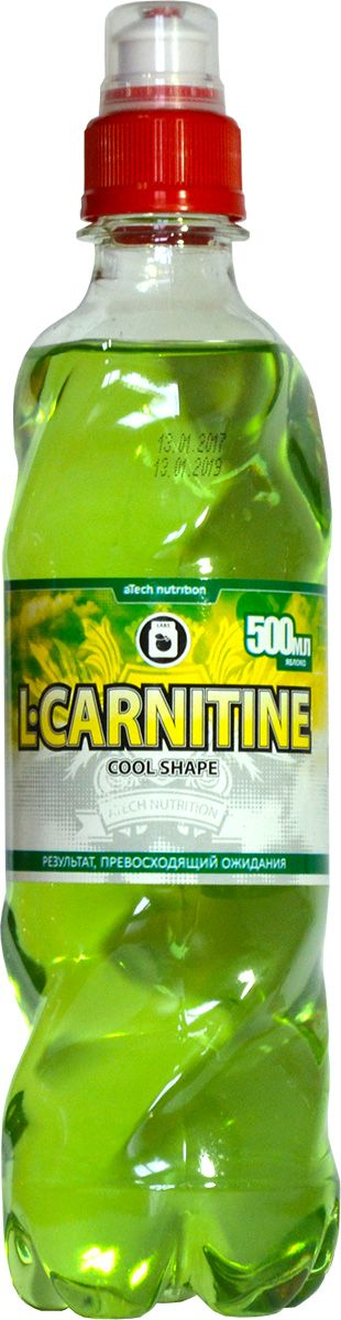 L-карнитин aTech Nutrition L-Carnitine Cool Shape, яблоко, 500 мл напиток mychoice nutrition my fitness l carnitine 2700 shot клубника 9 x 60 мл