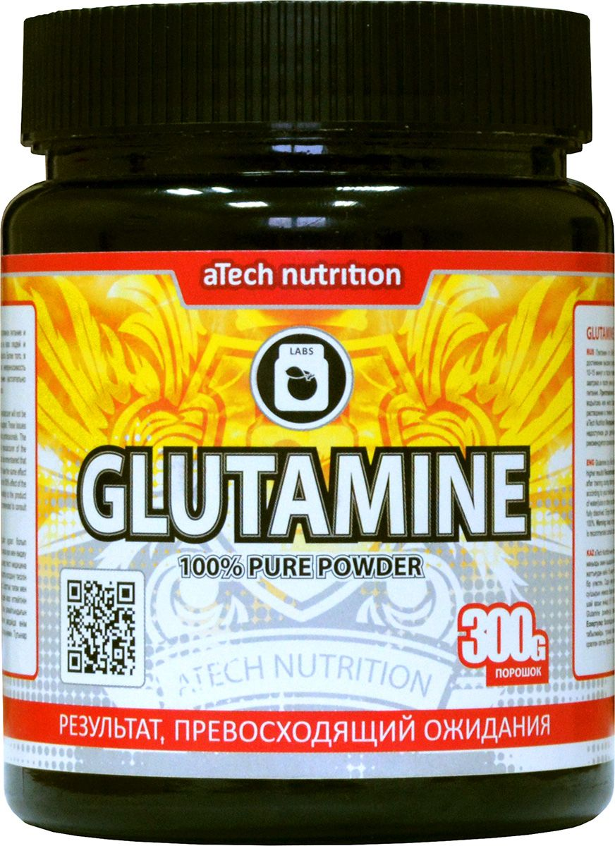 Глютамин aTech Nutrition Glutamine Pure Powder 100%, 300 г креатин atech nutrition creatine monohydrate 100% 300 г