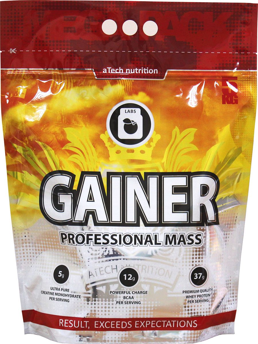 Гейнер aTech Nutrition Gainer Professional Mass, банан, 5000 г гейнер geneticlab nutrition mass gainer шоколад 1000 г