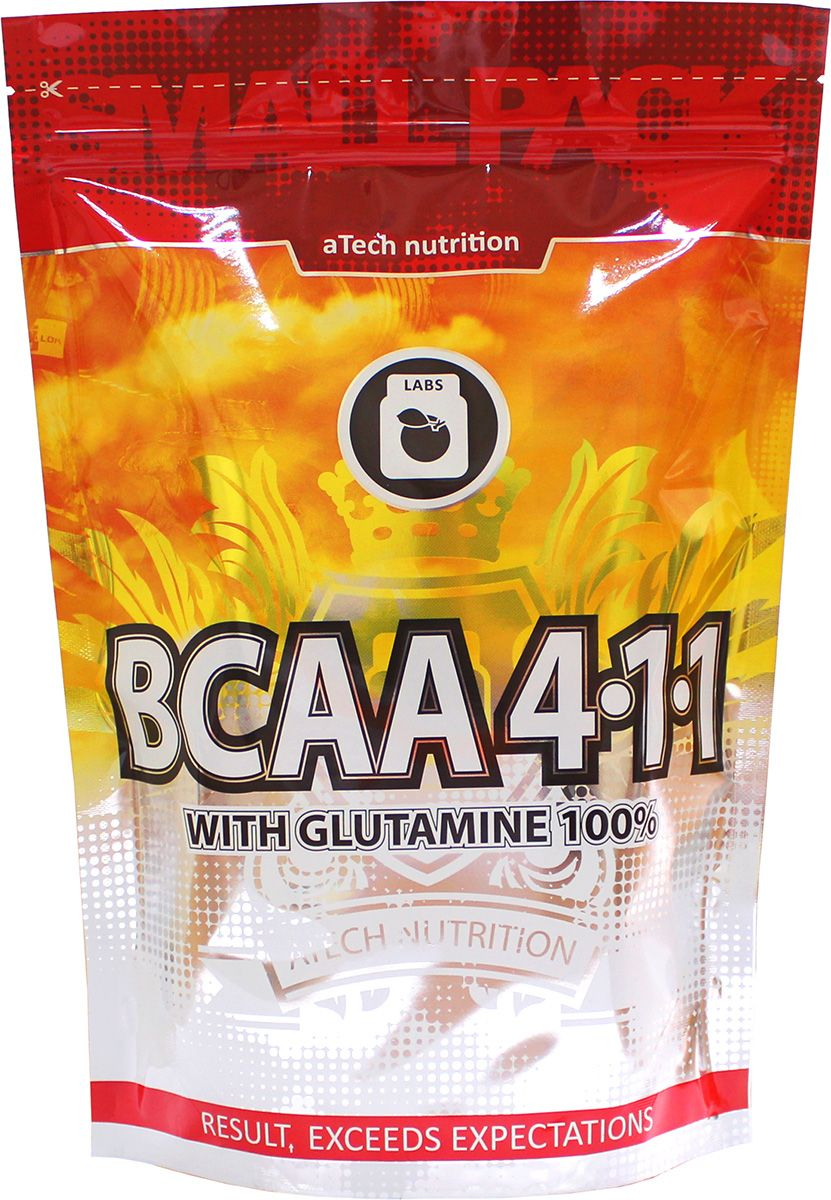 Комплекс аминокислотный aTech Nutrition BCAA 4:1:1 с глютамином, без вкуса, 500 г пищевая добавка atech nutrition glucosamine chondroitine mcm 100 капсул