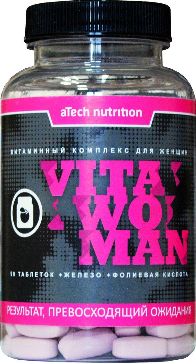 """Витамины aTech Nutrition """"Vita Woman"""" – биологически активная добавка к пище, применяется в качестве дополнительного источника витаминов, макро- и микроэлементов к основному рациону питания.Принимать взрослым, по 1 таблетке 1 раз в день, во время приема пищи, запивая водой или в соответствии с вашей индивидуальной программой питания, назначениями врача.Состав: кальция карбонат, калия фосфат, натрия фосфат, магния оксид, витамин С (аскорбиновая кислота), витамин Е (D-альфа токоферола ацетат), витамин РР (ниацин), цинка оксид, D-кальция пантотенат, калия йодид, марганца сульфат, натрия молибдат, кремния диоксид, витамин В6 (пиридоксина гидрохлорид), витамин В2 (рибофлавин), витамин В1 (тиамина мононитрат), меди сульфат, селенометионин, витамин А (ретинола ацетат, бета-каротин), хрома пиколинат, фолиевая кислота, ликопин, лютеин, ванадия аспартат, витамин К1 (фитоменадион), биотин, витамин D3 (холекальциферол), витамин В12, агент антислеживающий: микрокристаллическая целлюлоза (Е460i), оболочка таблетки (носитель: гидроксипропилметилцеллюлоза (Е464), глазирователи: поливиниловый спирт (Е1203), полиэтиленгликоль (Е1521), краситель: диоксид титана (Е171), стабилизатор: полидекстроза (Е1200), агент антислеживающий: тальк (Е553iii)), эмульгатор: стеарат магния (Е470), стабилизатор: кроскарамеллоза (Е468).  Товар не является лекарственным средством.Товар не рекомендован для лиц младше 18 лет.Могут быть противопоказания и следует предварительно проконсультироваться со специалистом."""