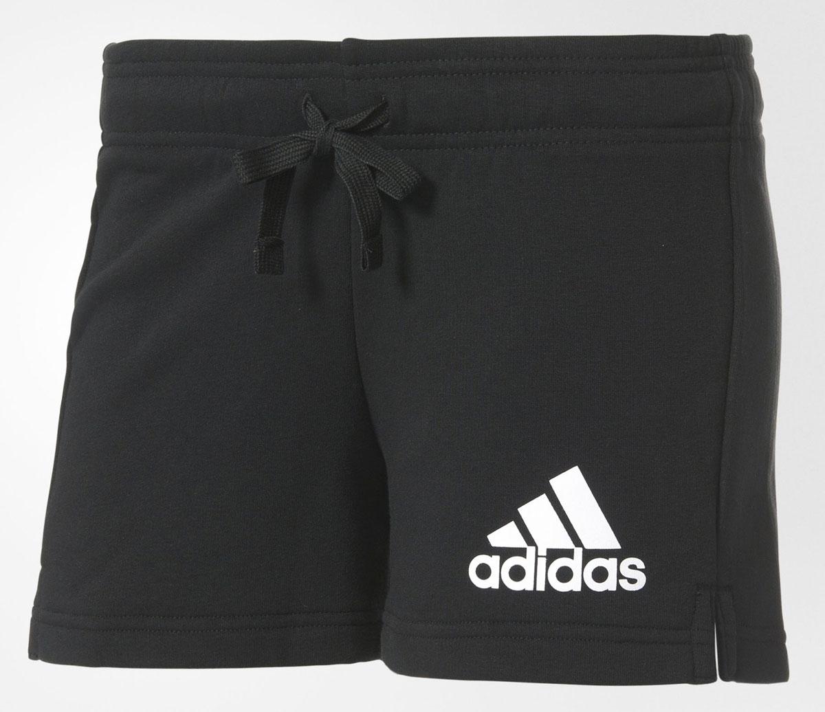 Шорты женские adidas Ess Solid Short, цвет: черный. B45780. Размер M (46/48)B45780Шорты женские adidas Ess Solid Short выполнены из хлопка с добавлением полиэстера. Дополнена модель эластичным поясом с затягивающимся шнурком.