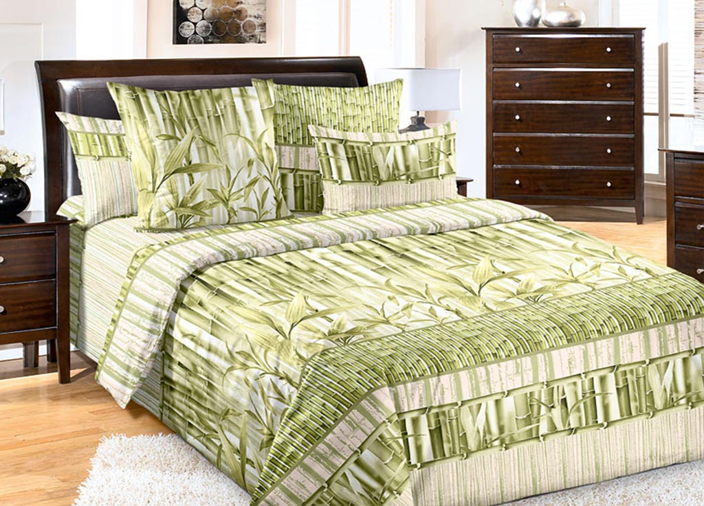 Комплект белья Primavera Стебли бамбука, евро, наволочки 70x70, 50x70